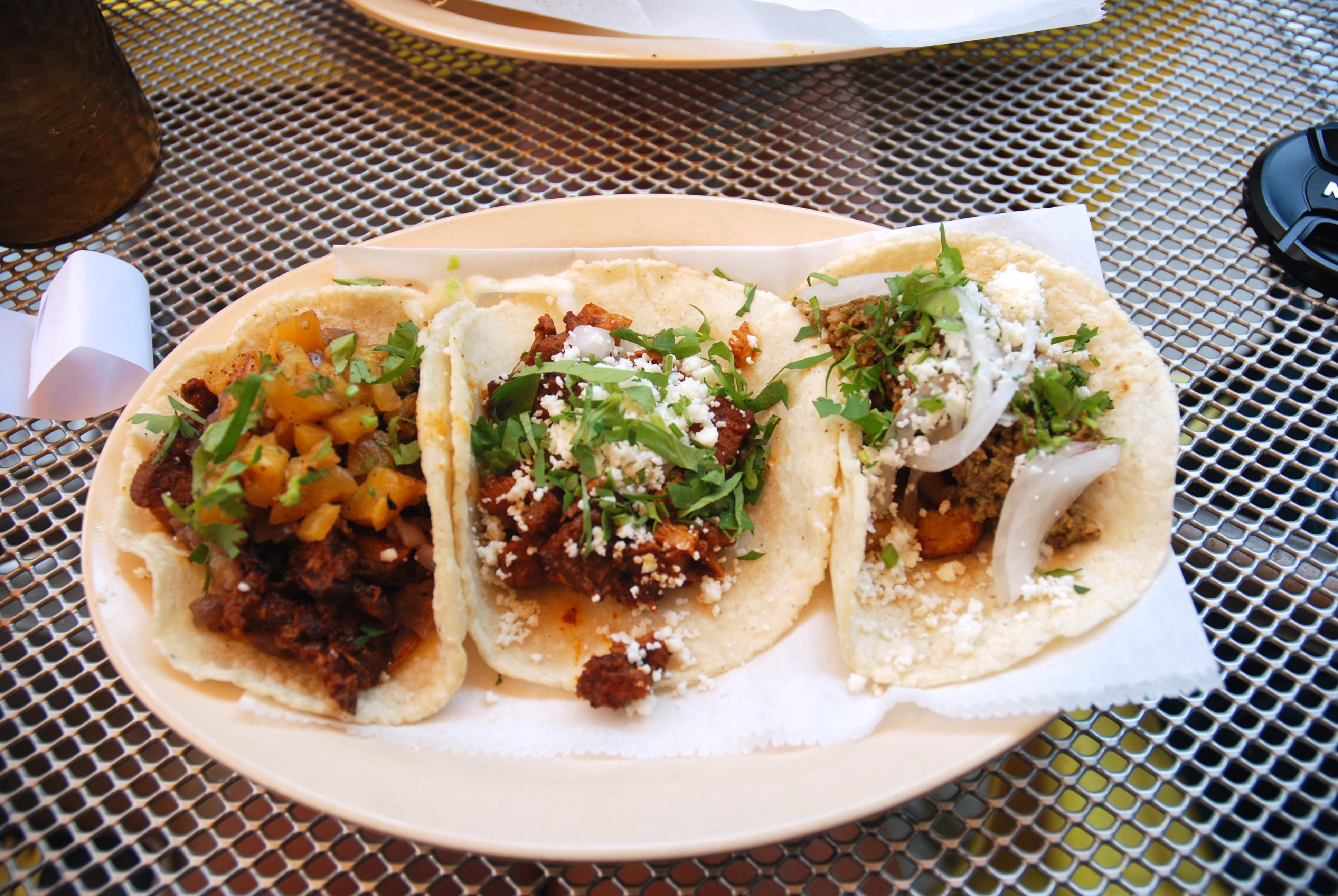 L to R: Taco Al Pastor, Taco De Panza, and Taco De Chorizo Verde - served family style!