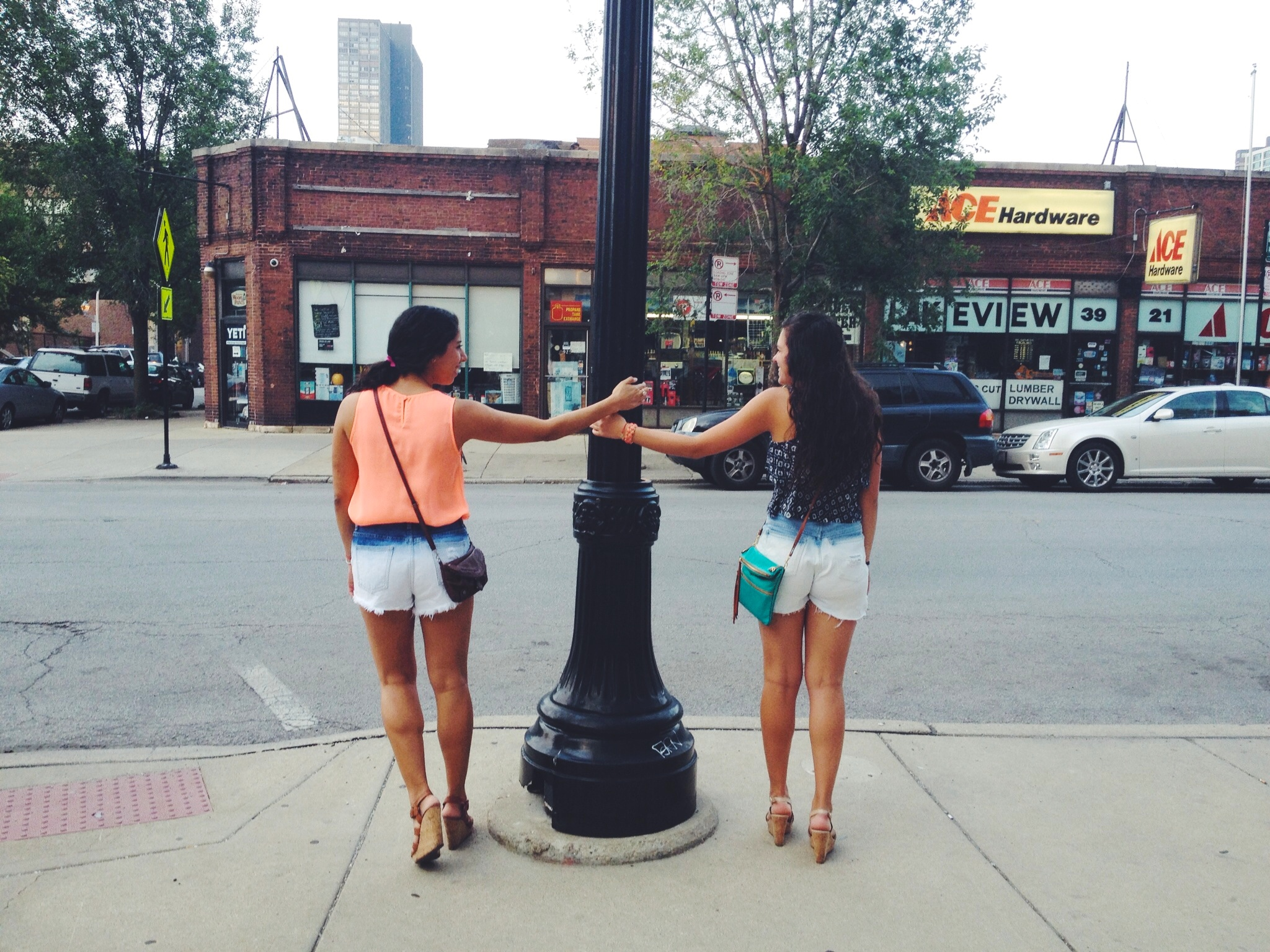 Hanging out in ombré shorts, exploring Wicker Park with Becca and some friends.