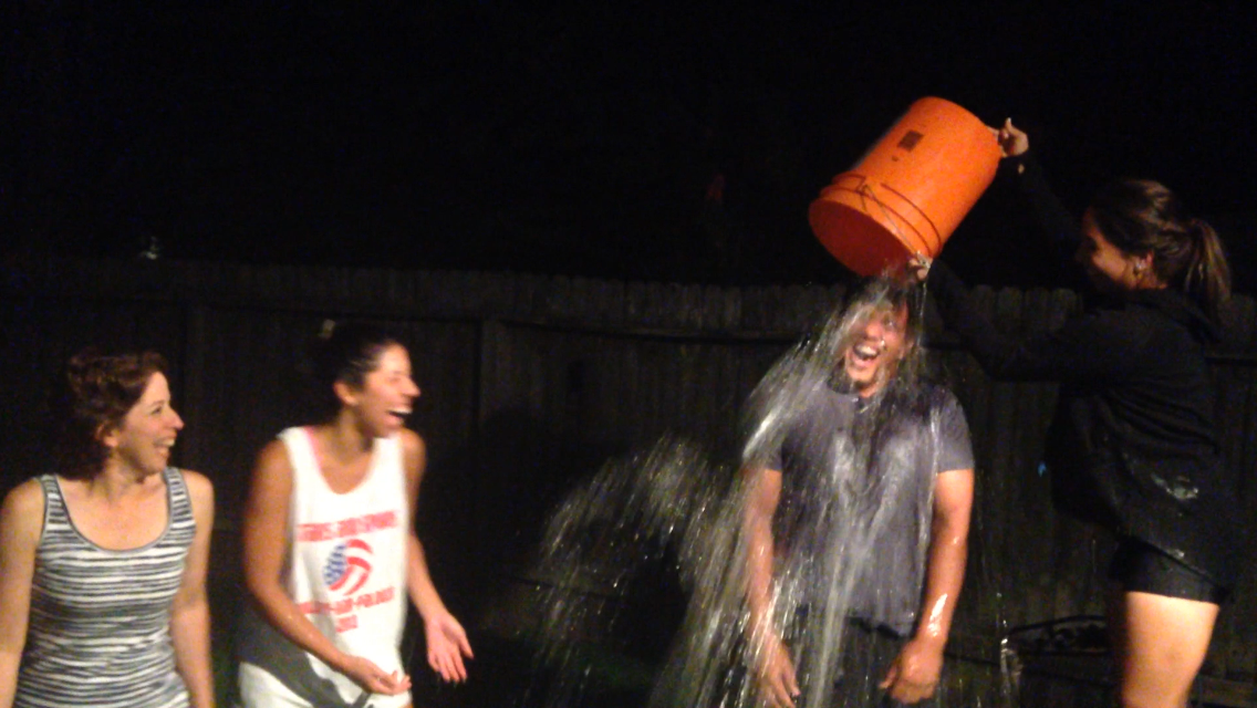 Eric was first to take the bucket...