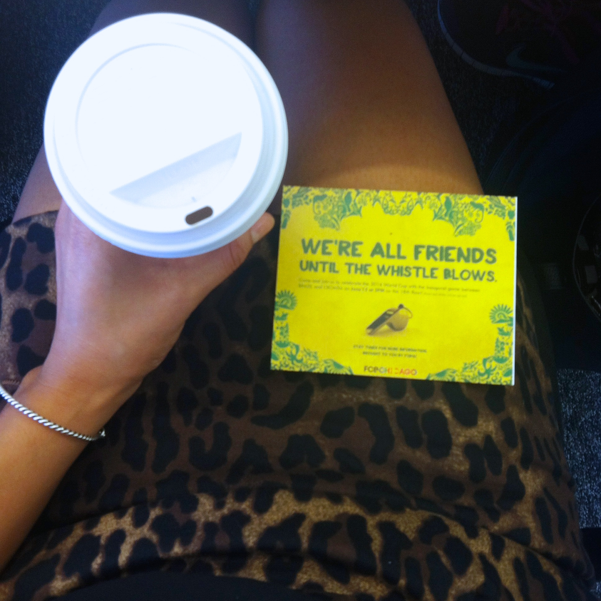 My favorite things from Thursday - coffee date with my mentor, an invite to a FIFA work viewing party, and my new leopard skirt.